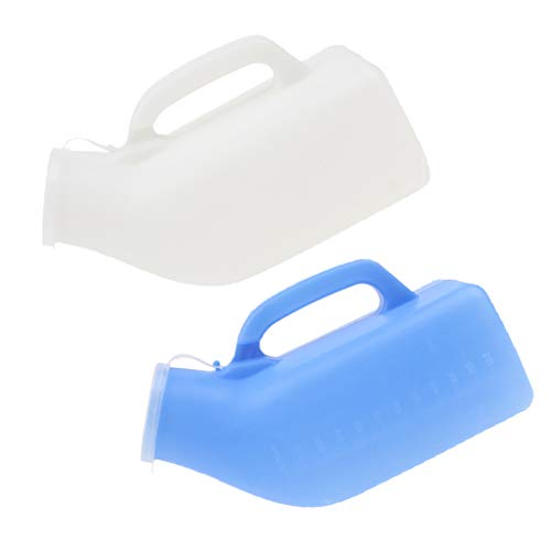 Prettyia 2 x 1000ml Elderly Patients Urinal Bottle Chamber Pot Emergency Toilet Pouch with Lid - Blue+White