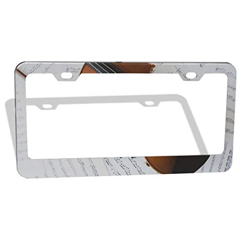 This Is Halloween Violin Sheet Music (Longzm Violin and Sheet Music Orange Metal License Plate Cover Holder for Car Front Back)