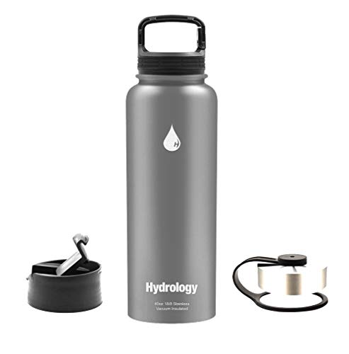 Hydrology Sports Water Bottle - 40 oz with 3 LIDS Double Wall Vacuum Insulated Stainless Steel Hydro Sports Water Bottle Flask - Keeps Cold and HOT (Gray, 40 oz)