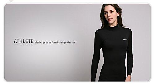 COOVY ATHLETE Women's Compression Base Layer Long Sleeve Mock Shirts, Style W05 (Black) by ATHLETE (Image #3)