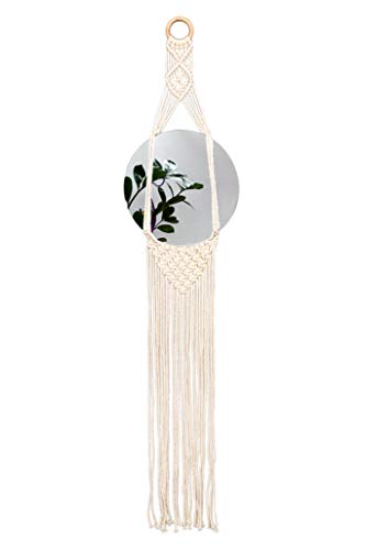 Kenley Decorative Wall Hanging Mirror - Bohemian Home Decor for Living Room, Bedroom or Bathroom - Boho Woven Macrame Tapestry Art - Round