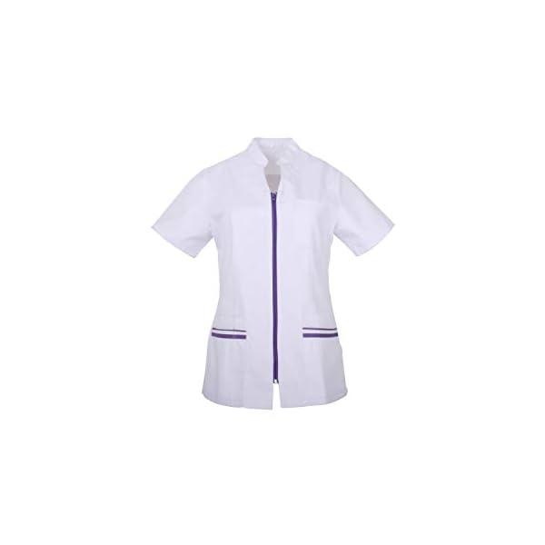 MISEMIYA Casaca Señora Mangas Cortas Uniforme Laboral Clinica Hospital Limpieza Veterinaria Sanidad Hostelería Pantalones utilidades de Trabajo Mujer 1
