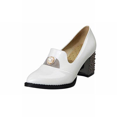 Spectacle Briller Mode Féminine Perlée Chunky Talon Chaussures Blanc