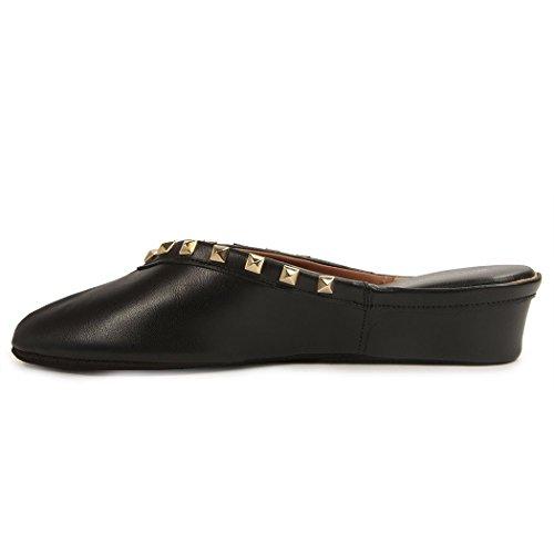 Jacques Pyramid Levine Slipper Women's Stud Wedge Leather Black ArA86W