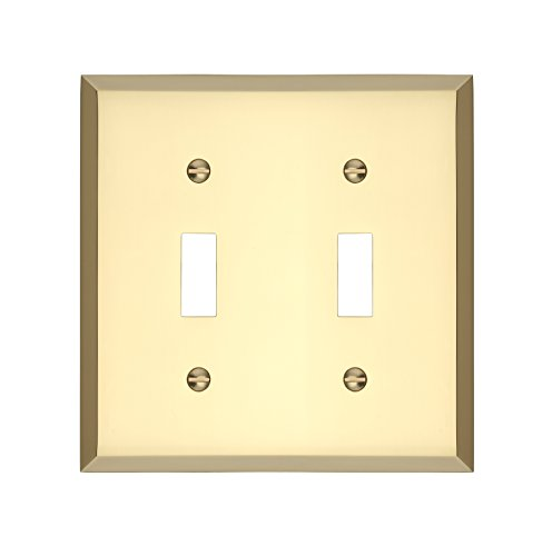 - MAYKKE Graham Double Light Switch Cover 2 Toggle Premium Solid Brass Wall Plate Coverplate for Light Switches 5 Color Finishes to Choose from, Polished Brass, ALA1010201