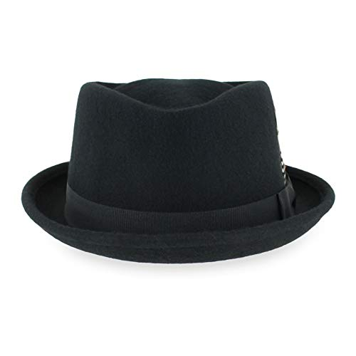 Belfry Crushable Porkpie Fedora Men's Vintage Style Diamond Hat 100% Pure Wool (Small, Black)