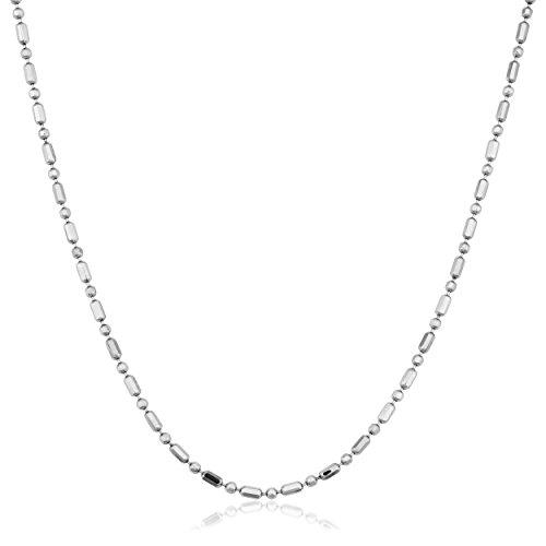 (Kooljewelry 14k White Gold 1 mm Diamond-Cut Alternate Bead Ball Chain Necklace (16 inch))