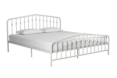 Novogratz Bushwick Metal Bed, King, White