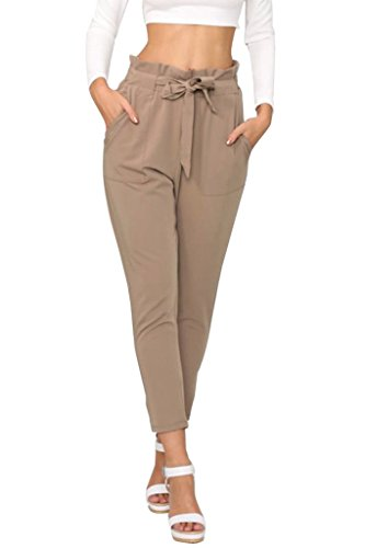 Simplee Apparel Women's Slim Straight Leg Stretch Casual Pants with Pockets - Business Capri