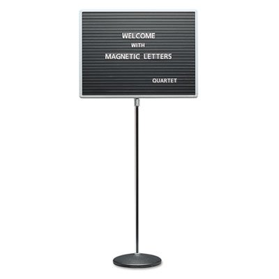 Adjustable Single-Pedestal Magnetic Letter Board, 24 x 18, Black, Gray Frame, Sold as 1 Each