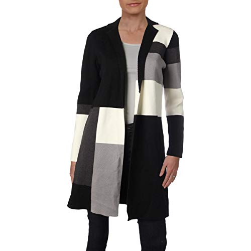 Calvin Klein Womens Petites Colorblocked Office Sweatercoat Black-Ivory PM