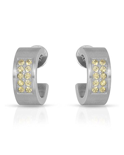 (Teno Stainless Steel 0.50 CTW Sapphire Hoop Earrings For Women. )