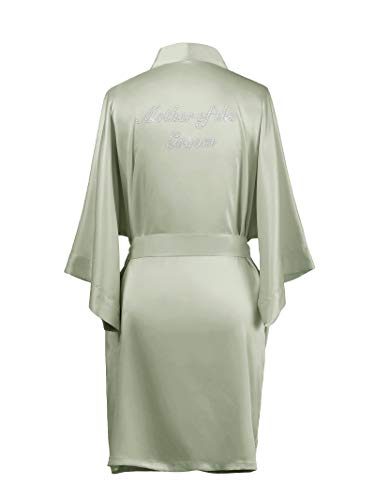 (AW Silk Satin Bridesmaid Robes Short Mother of The Groom Robes for Wedding Party Gifts Womens Kimono Bathrobe Sage Green L //ZS1604CPP10A// )
