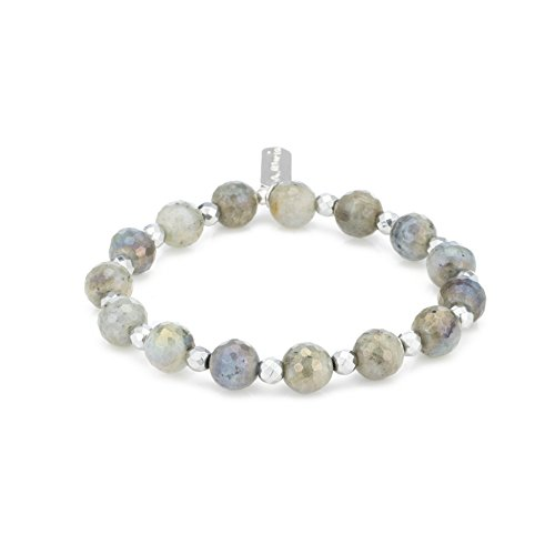 - A. Marie Two Tone Faceted Labradorite Stones and Silver Hematite Plated Stretch Bracelet