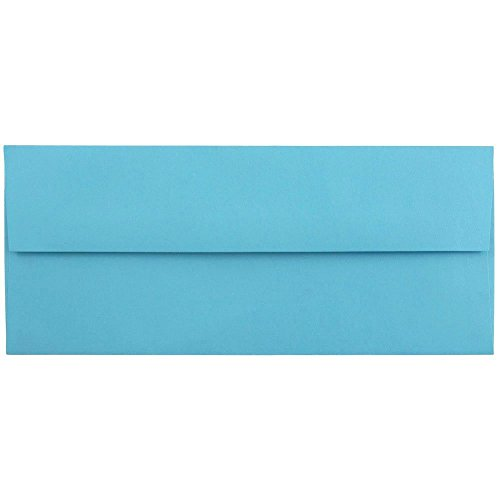 "JAM Paper #10 Business Envelope - 4 1/8"" x 9 1/2"" - Brite Hue Blue Recycled - 50/pack"