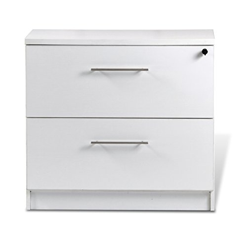Unique Furniture 132202-WH 2 Drawer Lateral File Cabinet, White