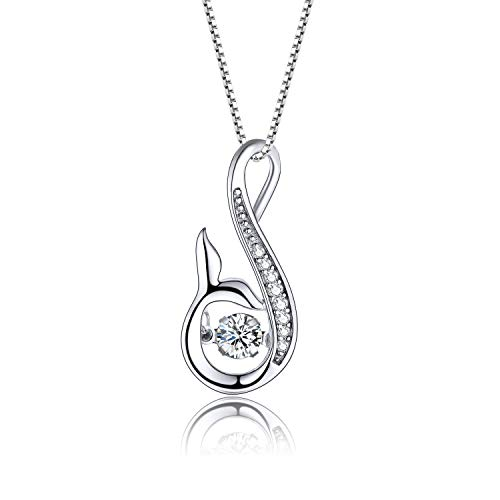 YL Women's Mermaid Tail Necklace Sterling Silver Infinity Pendant Dancing Diamond Cubic Zirconia Jewelry