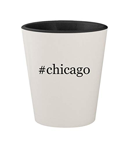 #chicago - Ceramic Hashtag White Outer & Black Inner 1.5oz Shot Glass