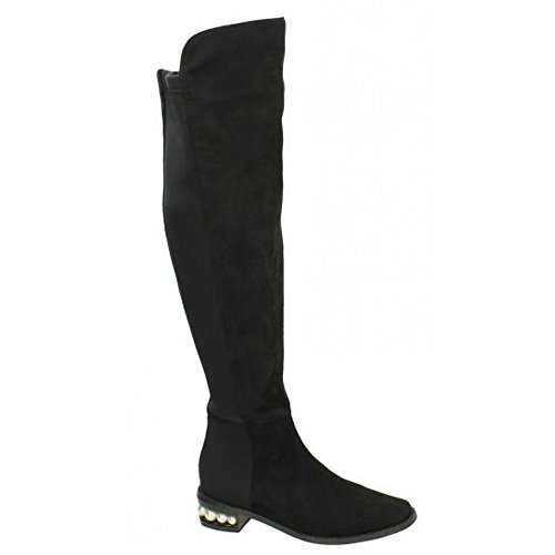 Spot Over Knee The Pu On Womens Leg High Black ladies Boots q46xBOq