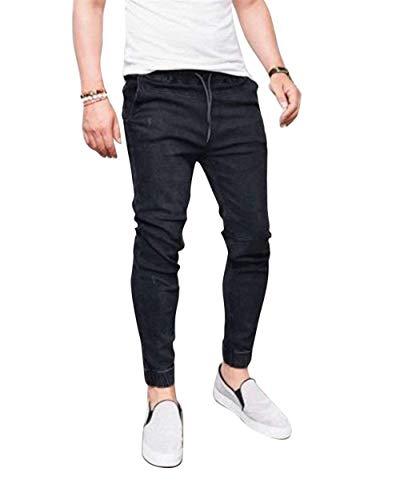 Di Denim Slim Stile Nero Jeggings Vintage Fit Casual Moda Uomo Da Semplice Jeans Pantaloni zUqwCTC