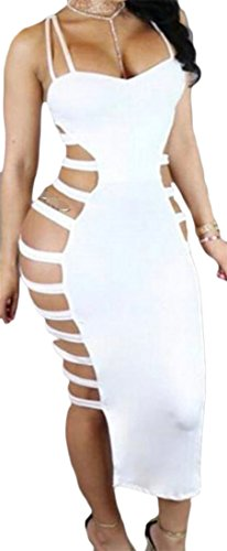 Cruiize Backless Strap Cut Bodycon Dress Spaghetti Sexy Club White Womens Out rCSwqr