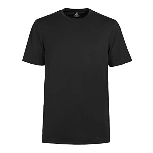 Men's Breathable Athletic T-Shirt Workout Speed Racer Short Sleeve tee Shirts Gym Dri Fit Training Clothes Crew Neck Black-L