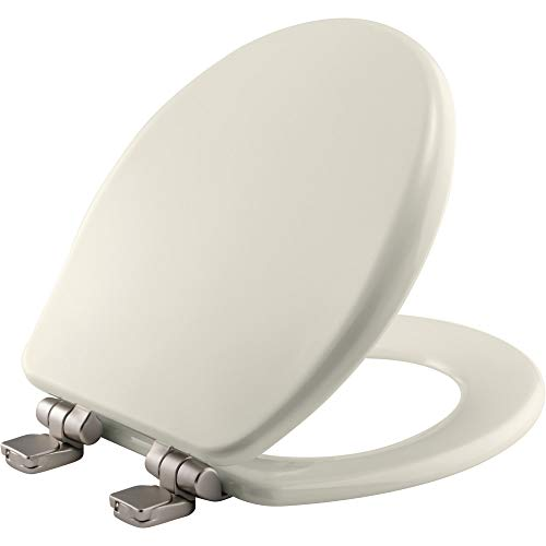 BEMIS 9170NISL 346 Alesio II Toilet Seat with Brushed Nickel Hinges will Slow Close, Never Loosen and Provide the Perfect Fit, ROUND, High Density Enameled Wood, Biscuit/Linen