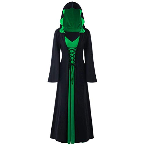 LOKODO Women's Plus Size Halloween Hooded Lace Up Patchwork Long Sleeve Maxi Dress Witch Costume Green S