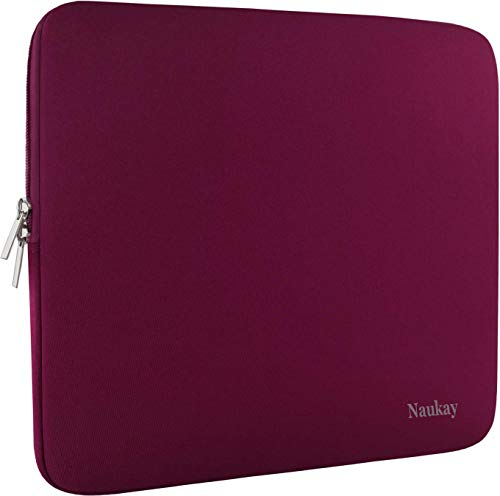 Naukay Laptop Case 15.6 inch,Resistant Neoprene Protective Laptop Sleeve Compatible for Asus F555LA/MB168B/X551,Acer Aspire/Chromebook 15,Dell Inspiron,15.6 HP/Tablet Briefcase Carrying Bag-Wine Red