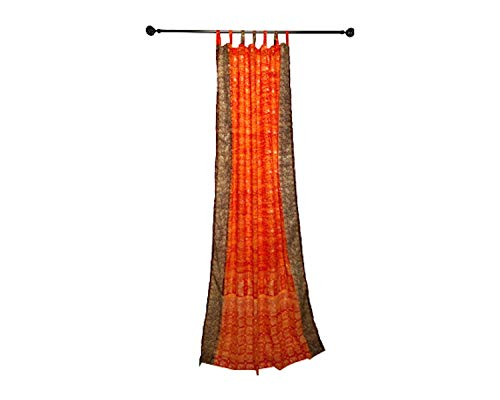Orange Curtain Rust brown Window Treatment Draperies Boho Curtains over 20 colors Indian Sari panel 108 96 84 inch for bedroom living room dining room kids yoga studio canopy tent W GIFT bag