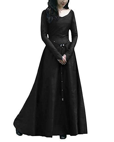 Shaoyao Women's Medieval Cosplay Costume Princess Renaissance Gothic Dress Black L -