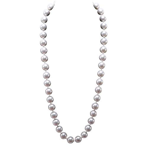 JYX 12mm Round White Seashell Pearl Necklace 28
