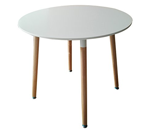 Creation Yusheng Modern Round White Dining CoffeeTable,Leisure Conference Pedestal Desk with Wooden Legs (Round, White)