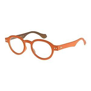 I NEED YOU Round Eyeglass Orange/Brown Frame Doktor Reading Glasses Prescription Eyeglasses For Men & Women Spring Hinge High-Quality Plastic Eyeglasses With Strength +3.0
