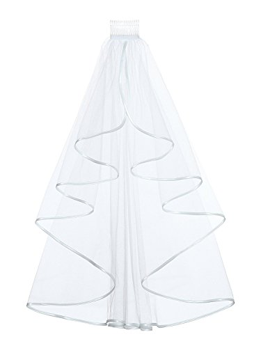 "1T 1 Tier Ribbon Edge Bridal Wedding Veil - Elbow Length 28"" with comb, White"