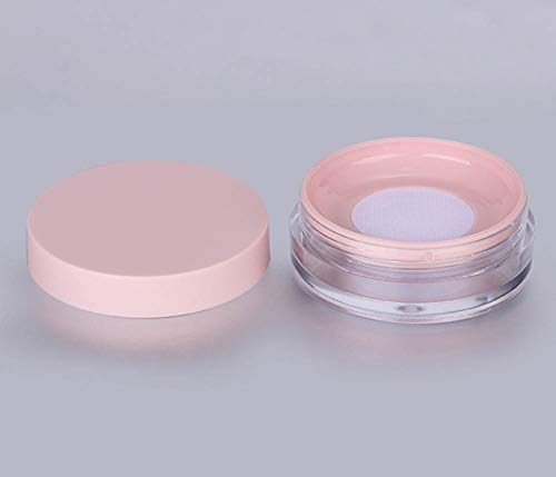 AKOAK Capacity 10 ml(0.33 oz) No Leaks Empty Reusable Plastic Loose Powder Compact Container DIY Makeup Powder Case with Sponge Powder Puff,Elasticated Net Sifter and Pink Threaded Screw Lid