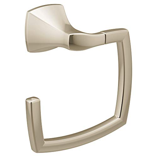 (Moen YB5186NL Voss Collection Bathroom Hand Towel Ring, Polished Nickel)