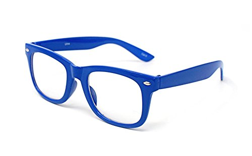 Nerd Costume Ideas (Dark Blue Classic Style Multi Colour Clear lens Classic Frames Perfect for Costumes Parties Glasses Gift Nerds and Hipsters)
