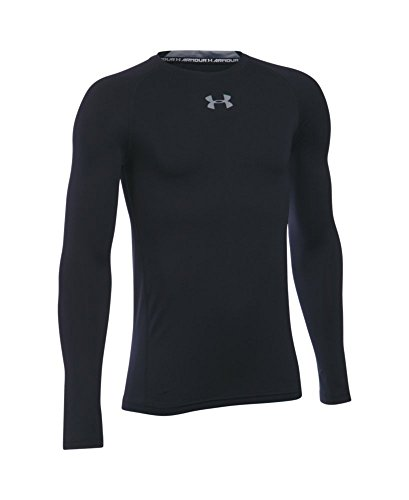 Under Armour Boys' HeatGear Armour Long Sleeve Fitted Shirt, Black/Steel, Youth Large