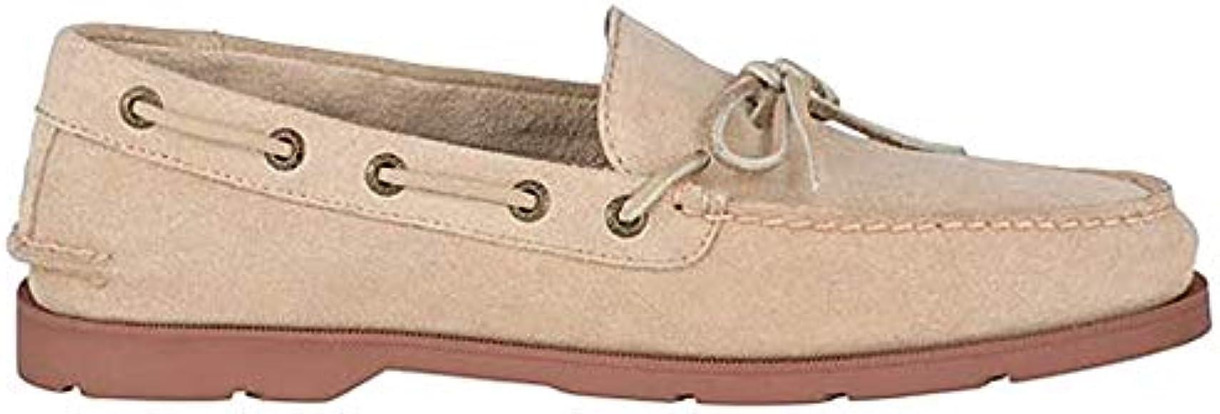 Leeward Suede 1-Eye Boat Shoe, Sand