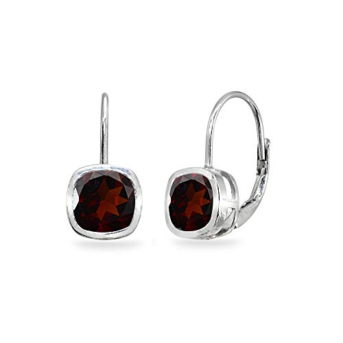 Sterling Silver Garnet 6x6mm Cushion-Cut Bezel-Set Dainty Leverback Earrings for Women Teen Girls ()