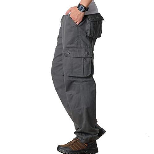 fantasticlife06 Mens Cargo Pants Men's Casual Multi Pocket Military Overall Men Outdoors Long Trousers Tactical Pants Streetwear, Dark Grey,42