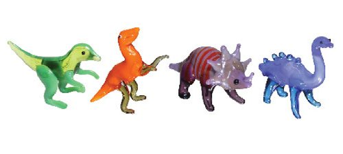 Looking Glass Miniature Collectible - Dinosaurs (4-Pack) (Glass Figurines Collectibles)