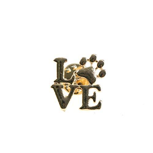 Love Dog cat paw Print pins Brooch Pet Memorial Jewelry Keepsake Jewelry CA (Color - Gold)