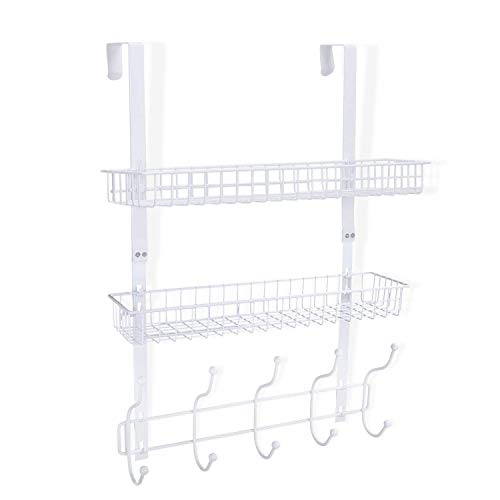 KEIMIX Coat Rack, Over The Door Hanger with Mesh Basket, Detachable Storage Shelf for Towels, Hats, Handbags, Coats