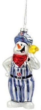 Lionel Trains Blown Glass Snowman Railroad Engineer Christmas Tree Ornament (5