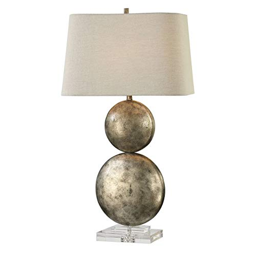 Uttermost 27758 Ordona - One Light Table Lamp, Antiqued Metallic Silver Champagne Leaf Finish with Light Gray Linen Fabric Shade