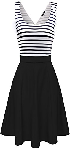 Womens Open Back Sleeveless Casual Swing Tank Dresses Black,L