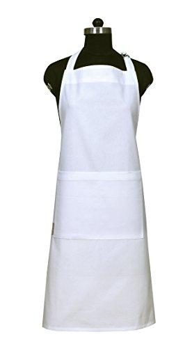 Sack Apron (Unisex White Aprons with Pockets, 100% Natural Cotton, Eco-Friendly & Safe, Adjustable Neck & Waist ties, Machine Washable, Cute Apron by CASA DECORS)