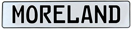 Vintage Parts Moreland Stamped Aluminum Street Sign Mancave Wall Art, White